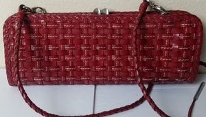 ELLIOTT LUCCA Clutch red long strap leather purse